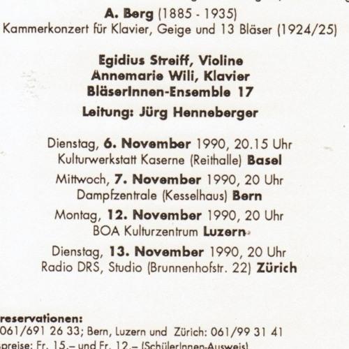 Anmari Wili -  Egidius Streiff: Kammerkonzert für Klavier, Geige und 13 Bläser