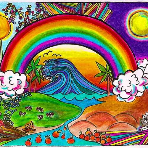 Rainbows in the Moon Light - Surfing an Ocean of Flowers
