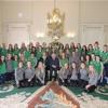 President receives the Irish and USA under 17 girls' hockey teams