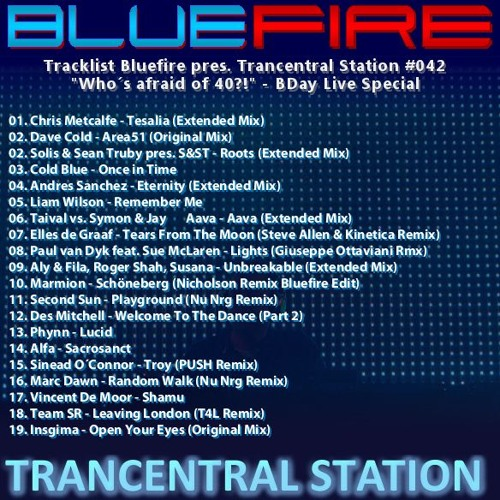 "Bluefire pres. Trancentral Station #042 - ""Who´s afraid of 40?!"" Special (2017-05)"