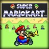 Super Mario in a kart, playing trumpet.