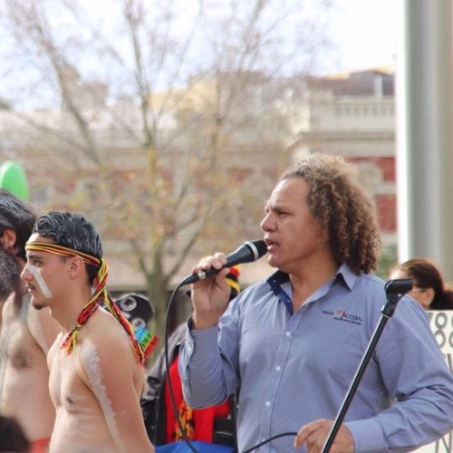 "Dennis Simmons speaking at the ""Standing in solidarity with Kalgoorlie"" event"