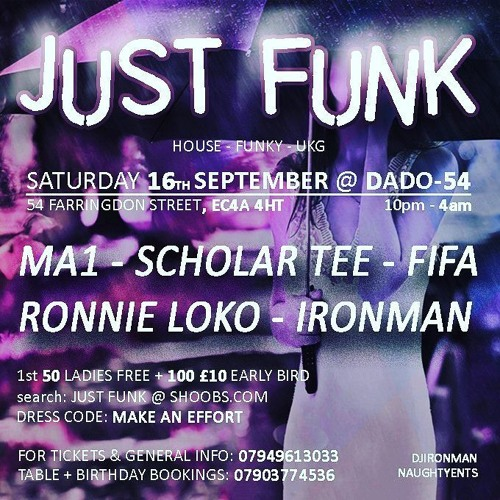 Just Funk 16th Sep 2017 @ Dado 54 Promo ~ Mix