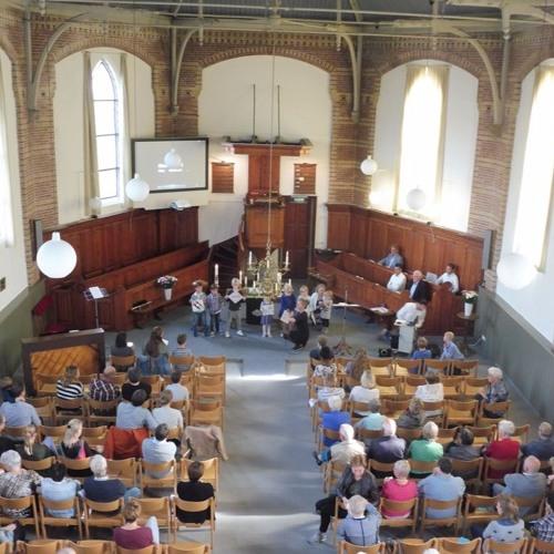 17 september 2017. Startdienst in kerk Nieuwland. Christiaan van Mourik en jongeren