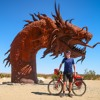 Cycling Past the Giant Metal Sculptures in Anza-Borrego Desert State Park
