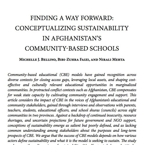 [Behind the Pages] Finding a Way Forward: Conceptualizing Sustainability in Afghanistan's Schools