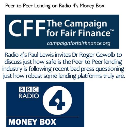 Dr Roger Gewolb discusses Peer to Peer lending on Radio 4's MoneyBox