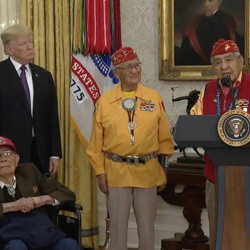 President Donald Trump and Navajo Code Talkers