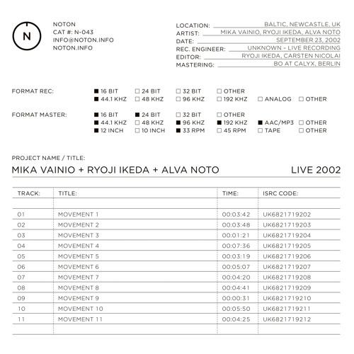 MIKA VAINIO + RYOJI IKEDA + ALVA NOTO - MOVEMENT 2