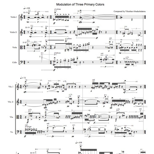 Modulation of Three Primary Colors-for string quartet(2013)