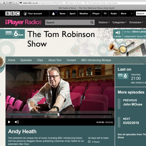 """The Tom Robinson Show BBC6Music featuring """"Know You"""" by James Bakian"""