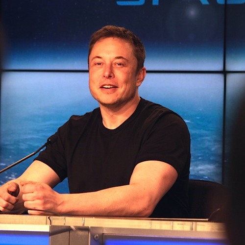 Elon Musk speaks with reporters after Falcon Heavy test launch