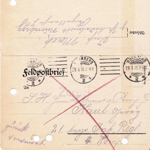 Opas Krieg - Feldpostbrief vom 28.03.1918