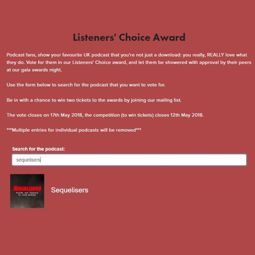 British Podcast Awards - Vote for us for Listeners' Choice