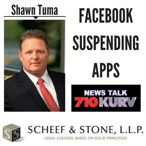 Facebook Suspending Apps || Shawn Tuma discusses LIVE (5/14/18)