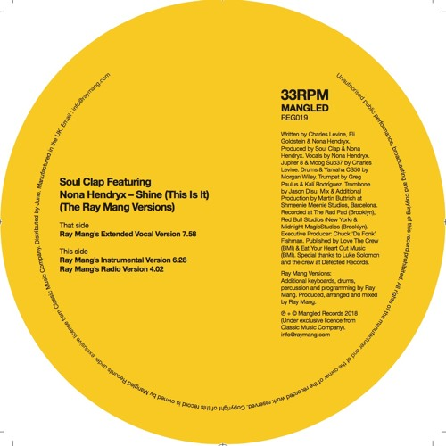 Soul Clap Ft Nona Hendryx - Shine (This Is It) - Ray Mang Remix Instrumental (6.28)