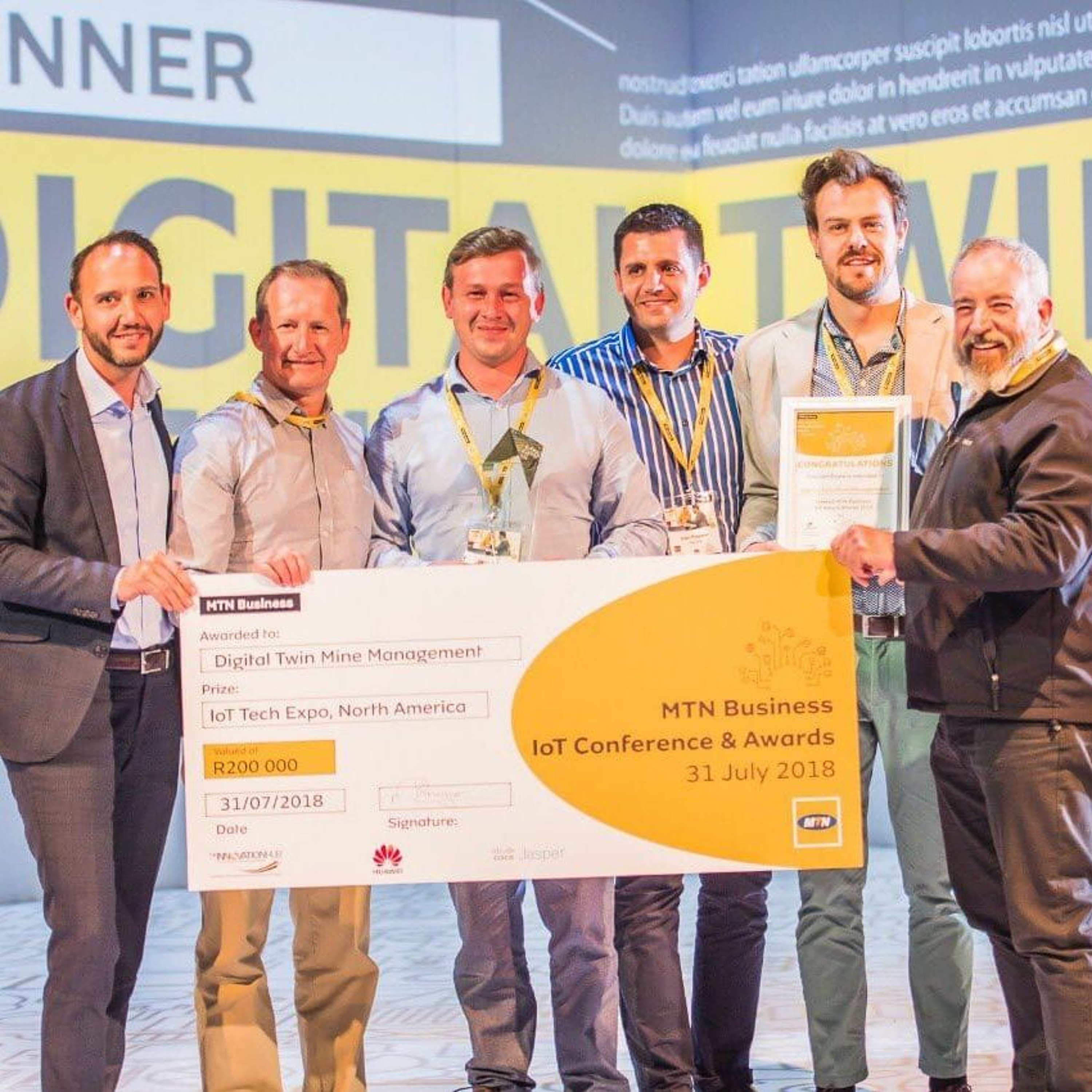 003 Digital Twin Mine Management wins wins best Industry 4.0 solution at MTN IoT Awards 2018!