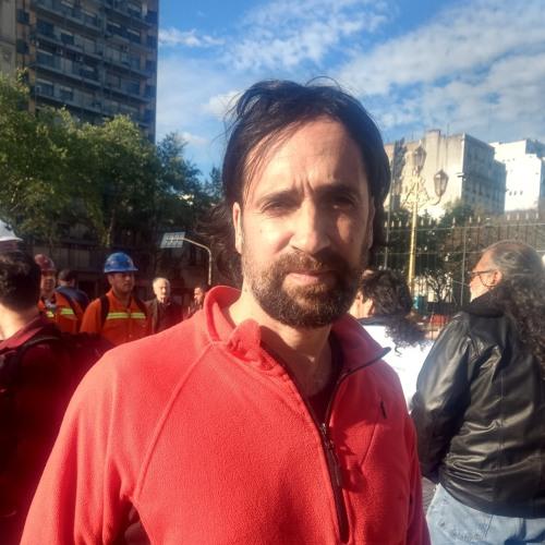 Acampe frente al Congreso - Pablo Spataro S. Gral CTA A - CABA