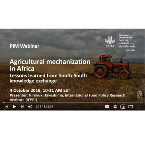 PIM Webinar Series: Agricultural mechanization in Africa - 10/4/2018