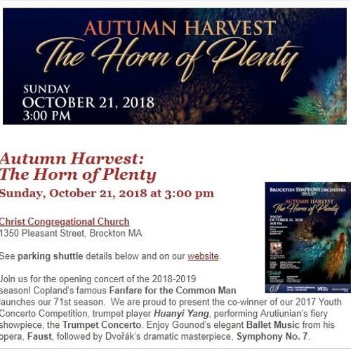 Brockton Symphony Autumn Harvest Promo