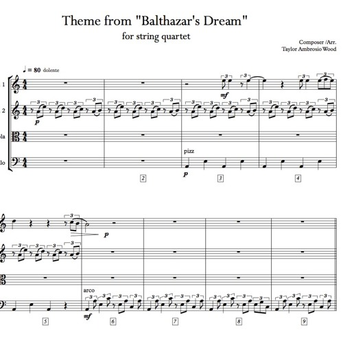 Theme from Balthazar's Dream for String Quartet (LIVE from the Victoria and Albert Museum in London)