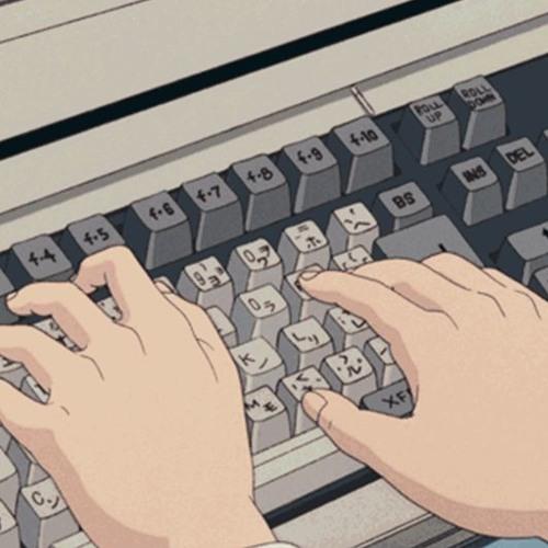 гифка стучит по клавиатуре
