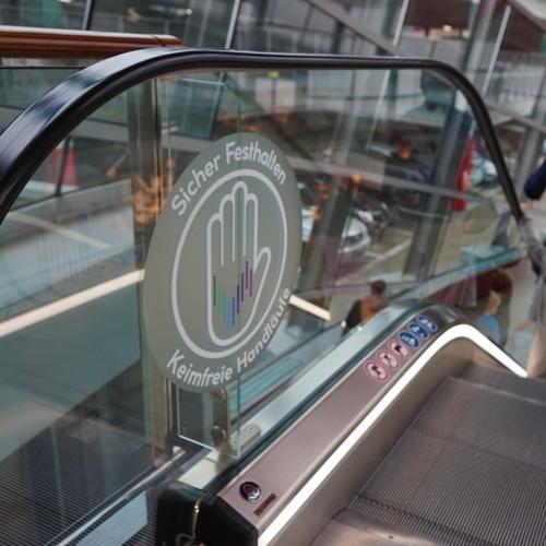 Handrail Sanitizer Startup Signs Hamburg Mall Contract