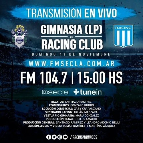 Gimnasia 0 - Racing 3 / Transmisión Completa