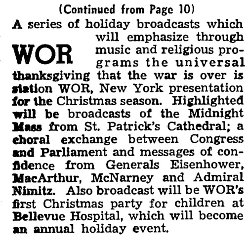 WOR's Anti-Isolationist Christmas Message on MBS' Year in Review—12/25/1945