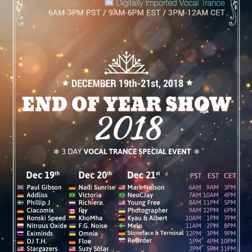 Paul Gibson - End of Year Show 2018 on Digitally Imported Vocal Trance