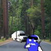Frozo the trucks coming. Oh my god he has headphones on. He can't hear us.