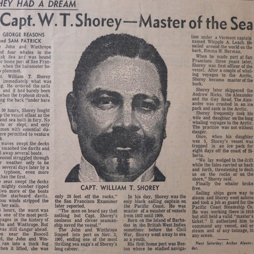 California's only black whaling captain: William Shorey's journey from sailor to celebrity