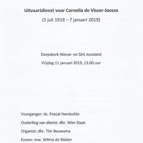 Uitvaartdienst Cornelia De Visser - Joosse 11 Januari 2019 in Nieuwland Ds. Pascal Handschin
