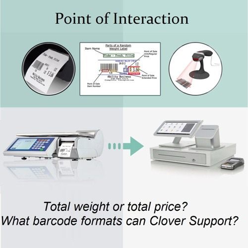 S1 E4 Total weight or total price? What barcode formats for can Clover Support?