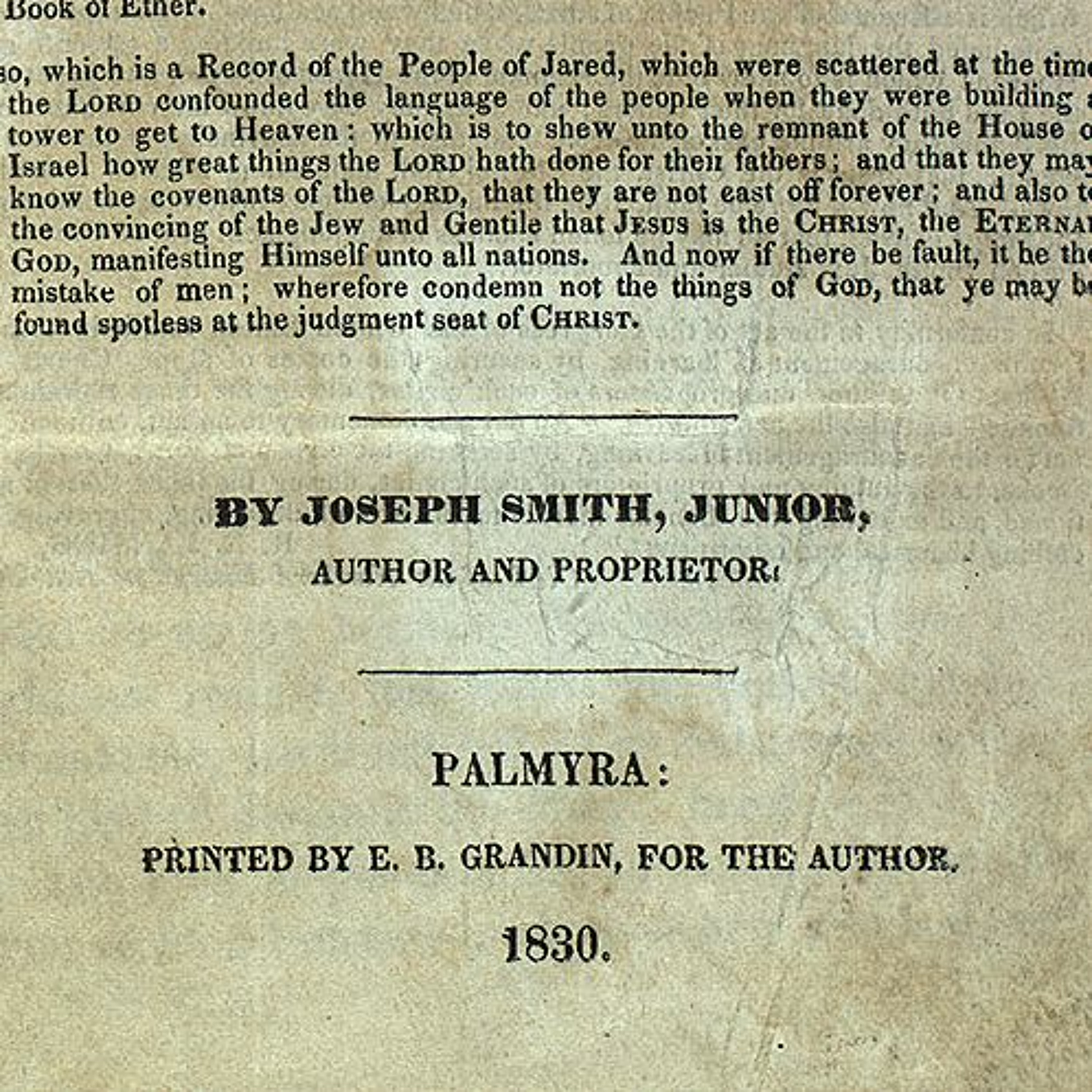 """Was Joseph Smith the """"Author"""" of the..."""