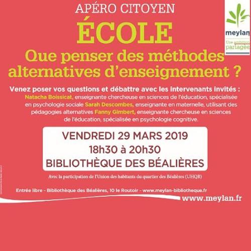 Apéro citoyen 2019  - Les méthodes alternatives d'enseignement
