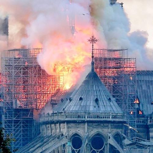 Notre Dame in Paris, France, burns