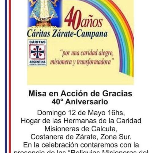 Saludo Obispo Pedro Laxague 40° Aniversario Caritas diocesana