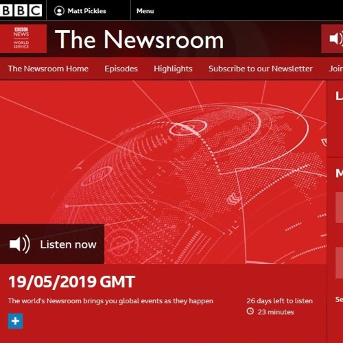 BBC World Service, The Newsroom, 19/05/2019