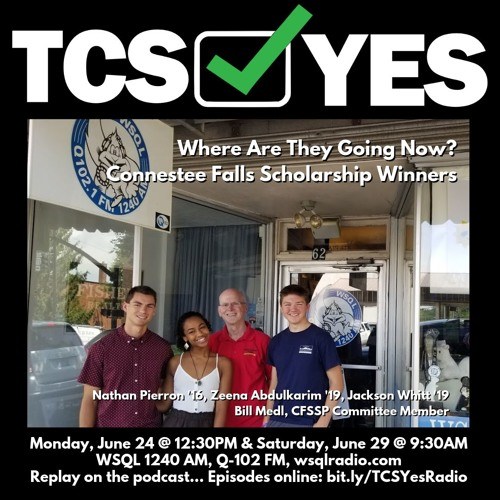 TCSYes 2019-06-24 Connestee Falls Scholarships—N. Pierron, Z. Abdulkarim, J. Whitt