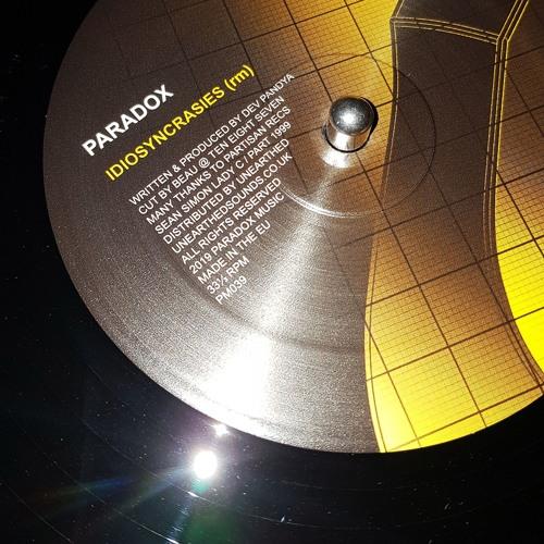 "Paradox - 'Idiosyncrasies [rm]' (Paradox Music 12"" 039)"