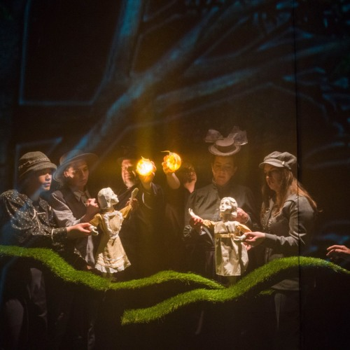 """Cues from the score to """"Home"""" - a hybrid multimedia puppetry theater play"""