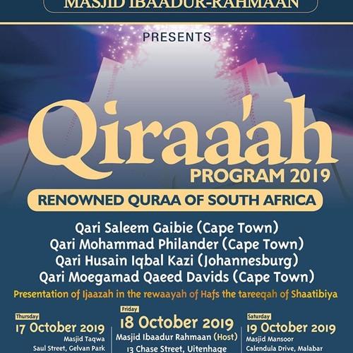 Jumuah qiraat perfomed by Qari Mohammad Philander 18th October 2019