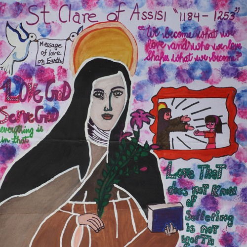 St. Clare painting by Sanika Pathania - honorable mention in painting competition by Khula Aasmaan