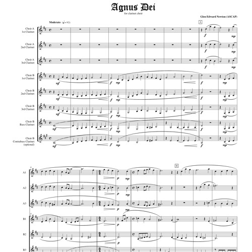 Agnus Dei For Clarinet Choir