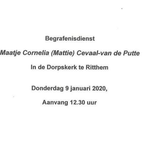 Herdenkingsdienst Maatje Cornelia (Mattie) Cevaal-van de Putte 9 januari 2020.