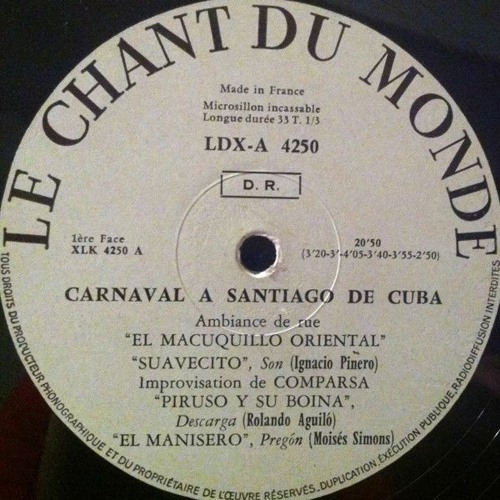 Improvisation De Comparsa (features Quinto; from Side A); (Probably Conga San Pedrito)