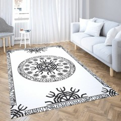 Viking Vegvisir In The Circle of Norse Runes Area Rug