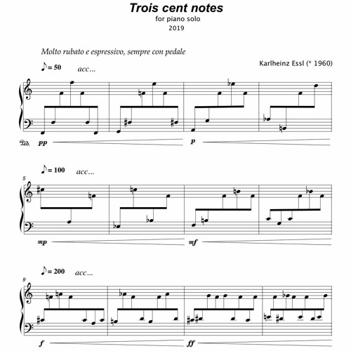 Trois cent notes (2019) - for toy piano