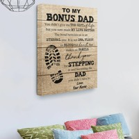 Shoe Prints To my bonus dad you sure made my life better custom name canvas